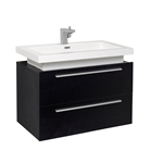 "Fresca Medio 32"" Black Modern Bathroom Cabinet with Vessel Sink"
