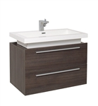 "Fresca Medio 32"" Gray Oak Modern Bathroom Cabinet with Vessel Sink"
