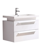 "Fresca Medio 32"" White Modern Bathroom Cabinet with Vessel Sink"