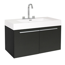 "Fresca Vista 36"" Black Modern Bathroom Cabinet with Integrated Sink"