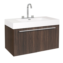 "Fresca Vista 36"" Walnut Modern Bathroom Cabinet with Integrated Sink"