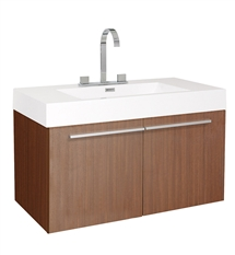 "Fresca Vista 36"" Teak Modern Bathroom Cabinet with Integrated Sink"