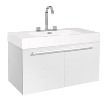 "Fresca Vista 36"" White Modern Bathroom Cabinet with Integrated Sink"