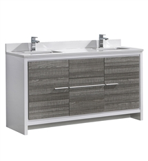 "Fresca Allier Rio 60"" Ash Gray Double Sink Modern Bathroom Cabinet with Top & Sinks"