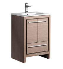 "Fresca Allier 24"" Gray Oak Modern Bathroom Cabinet with Sink"