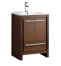 "Fresca Allier 24"" Wenge Brown Modern Bathroom Cabinet with Sink"