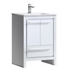 "Fresca Allier 24"" White Modern Bathroom Cabinet with Sink"