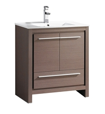 "Fresca Allier 30"" Gray Oak Modern Bathroom Cabinet with Sink"