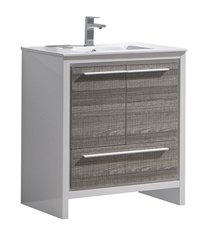 "Fresca Allier Rio 30"" Ash Gray Modern Bathroom Cabinet with Sink"