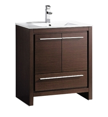 "Fresca Allier 30"" Wenge Brown Modern Bathroom Cabinet with Sink"