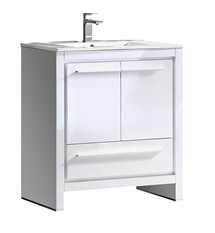 "Fresca Allier 30"" White Modern Bathroom Cabinet with Sink"