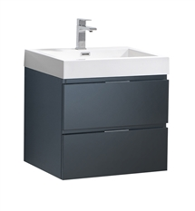 "Fresca Valencia 24"" Dark Slate Gray Wall Hung Modern Bathroom Vanity"