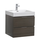 "Fresca Valencia 24"" Gray Oak Wall Hung Modern Bathroom Vanity"