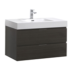"Fresca Valencia 36"" Gray Oak Wall Hung Modern Bathroom Vanity"