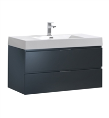"Fresca Valencia 40"" Dark Slate Gray Wall Hung Modern Bathroom Vanity"