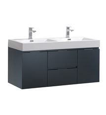 "Fresca Valencia 48"" Dark Slate Gray Wall Hung Double Sink Modern Bathroom Vanity"
