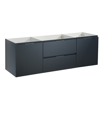 "Fresca Valencia 60"" Dark Slate Gray Wall Hung Single Sink Modern Bathroom Cabinet"