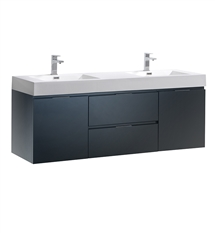 "Fresca Valencia 60"" Glossy Gray Wall Hung Double Sink Modern Bathroom Vanity"