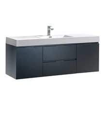 "Fresca Valencia 60"" Dark Slate Gray Wall Hung Modern Bathroom Vanity"