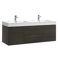 "Fresca Valencia 60"" Gray Oak Wall Hung Double Sink Modern Bathroom Vanity"