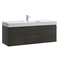 "Fresca Valencia 60"" Gray Oak Wall Hung Modern Bathroom Vanity"