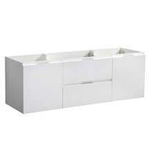 "Fresca Valencia 60"" Glossy White Wall Hung Double Sink Modern Bathroom Cabinet"