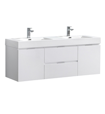 "Fresca Valencia 60"" Glossy White Wall Hung Double Sink Modern Bathroom Vanity"