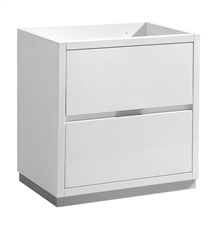 "Fresca Valencia 30"" Glossy White Free Standing Modern Bathroom Cabinet"
