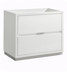 "Fresca Valencia 36"" Glossy White Free Standing Modern Bathroom Cabinet"