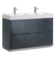 "Fresca Valencia 48"" Glossy Gray Free Standing Double Sink Modern Bathroom Vanity"