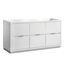 "Fresca Valencia 48"" Glossy White Free Standing Double Sink Modern Bathroom Cabinet"