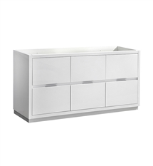 "Fresca Valencia 60"" Glossy White Free Standing Single Sink Modern Bathroom Cabinet"