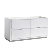 "Fresca Valencia 60"" Glossy White Free Standing Double Sink Modern Bathroom Cabinet"