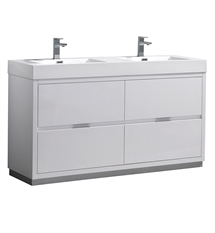 "Fresca Valencia 60"" Glossy White Free Standing Double Sink Modern Bathroom Vanity"
