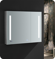 "Fresca Tiempo 36"" Wide x 30"" Tall Bathroom Medicine Cabinet with LED Lighting & Defogger"