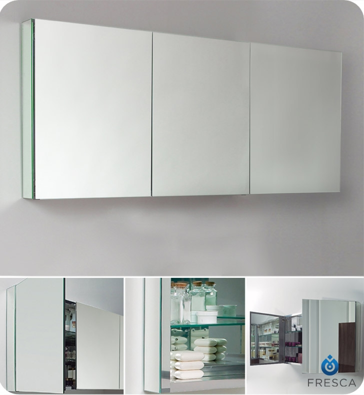 fresca 60 wide x 26 tall bathroom medicine cabinet with mirrors