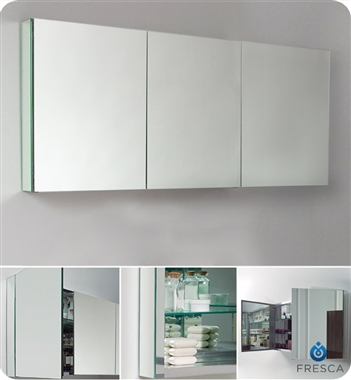 "Fresca 60"" Wide x 26"" Tall Bathroom Medicine Cabinet with Mirrors"
