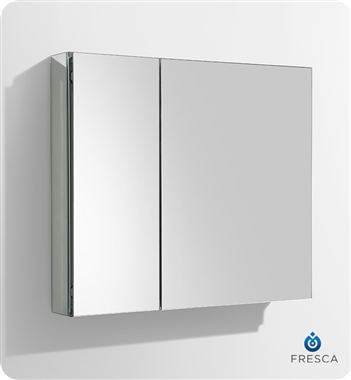 "Fresca 30"" Wide x 26"" Tall Bathroom Medicine Cabinet with Mirrors"