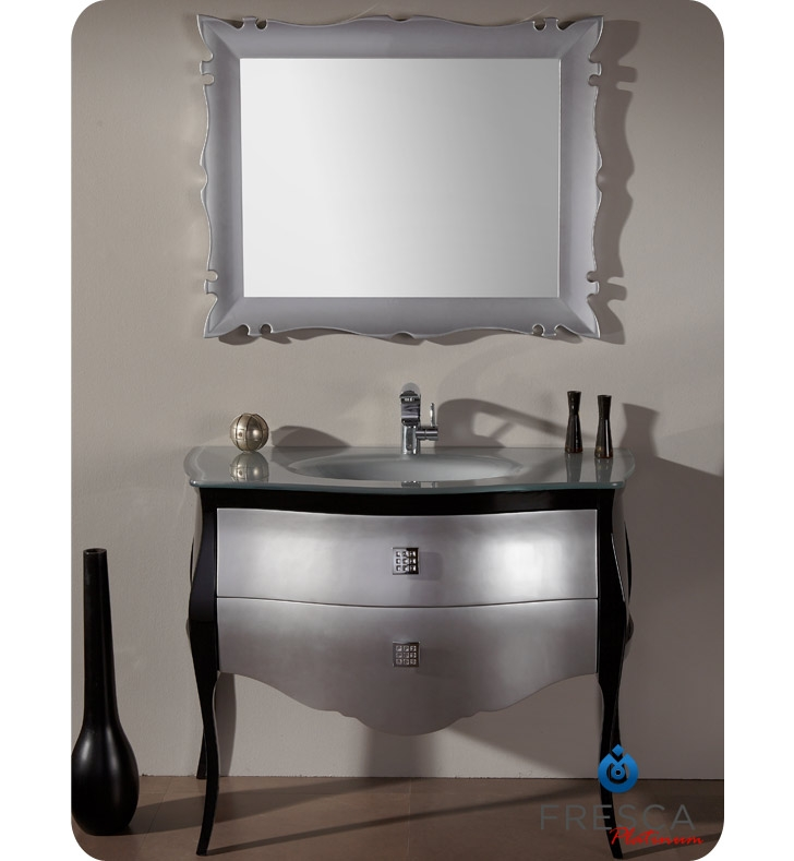 Bathroom vanities buy bathroom vanity furniture for Black and silver cabinet