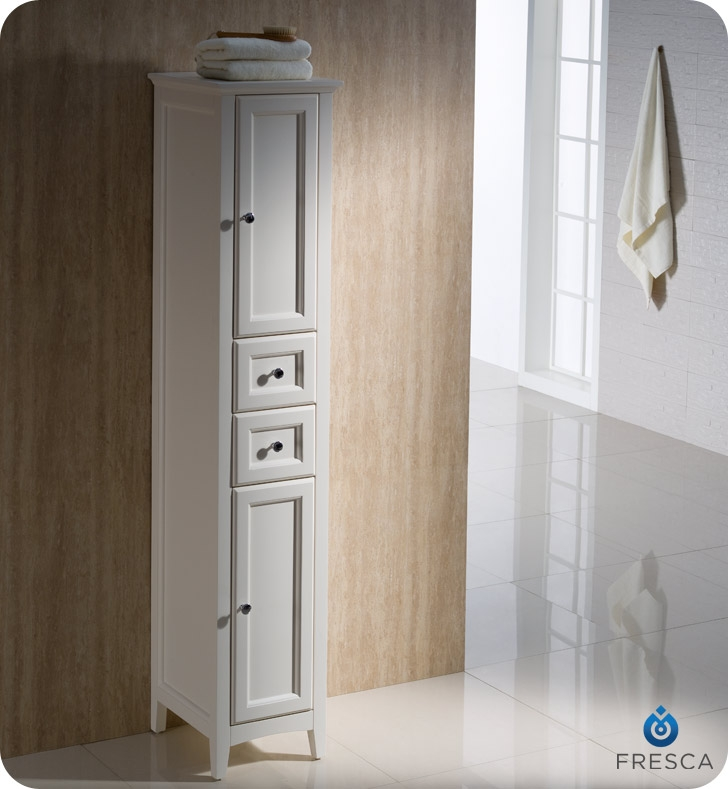 Charmant Fresca Oxford Antique White Tall Bathroom Linen Cabinet