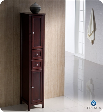 "Fresca Oxford 14"" Tall Linen Side Cabinet - Mahogany"