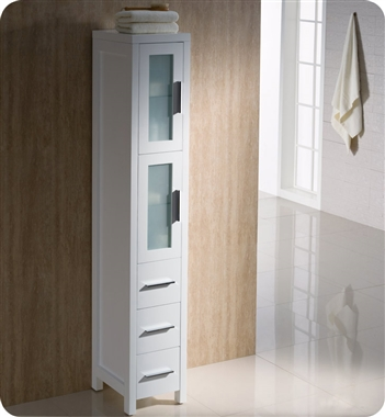 Fresca Torino Tall Bathroom Linen Side Cabinet - White
