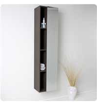 Fresca Gray Oak Bathroom Linen Side Cabinet w/ 4 Cubby Holes & Mirror