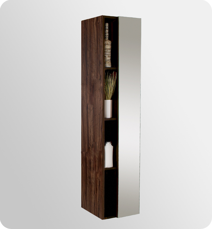 Fresca Walnut Bathroom Linen Side Cabinet W 4 Cubby Holes Mirror