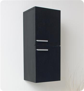 Fresca Black Bathroom Linen Side Cabinet w/ 2 Storage Areas
