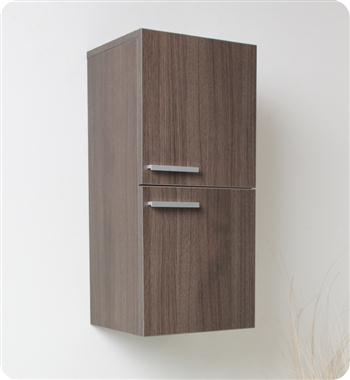 Fresca Gray Oak Bathroom Linen Side Cabinet w/ 2 Storage Areas