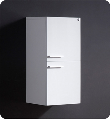 Fresca White Bathroom Linen Side Cabinet w/ 2 Storage Areas
