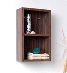 Fresca Walnut Bathroom Linen Side Cabinet w/ 2 Open Storage Areas