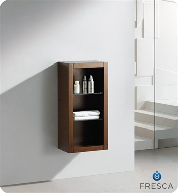Fresca Wenge Brown Bathroom Linen Side Cabinet w/ 2 Glass Shelves