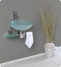Fresca - Cristallino - Glass Bathroom Vanity w/ Frosted Vessel Sink - FVN1012